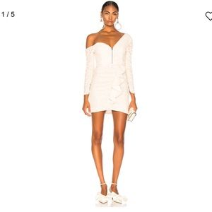 NWT Self Portrait Ivory Sequin Ruffle Mini Dress